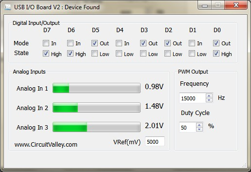 Cross Platform  USB I/O Board With PWM in Qt5 , I/O Board V2 16