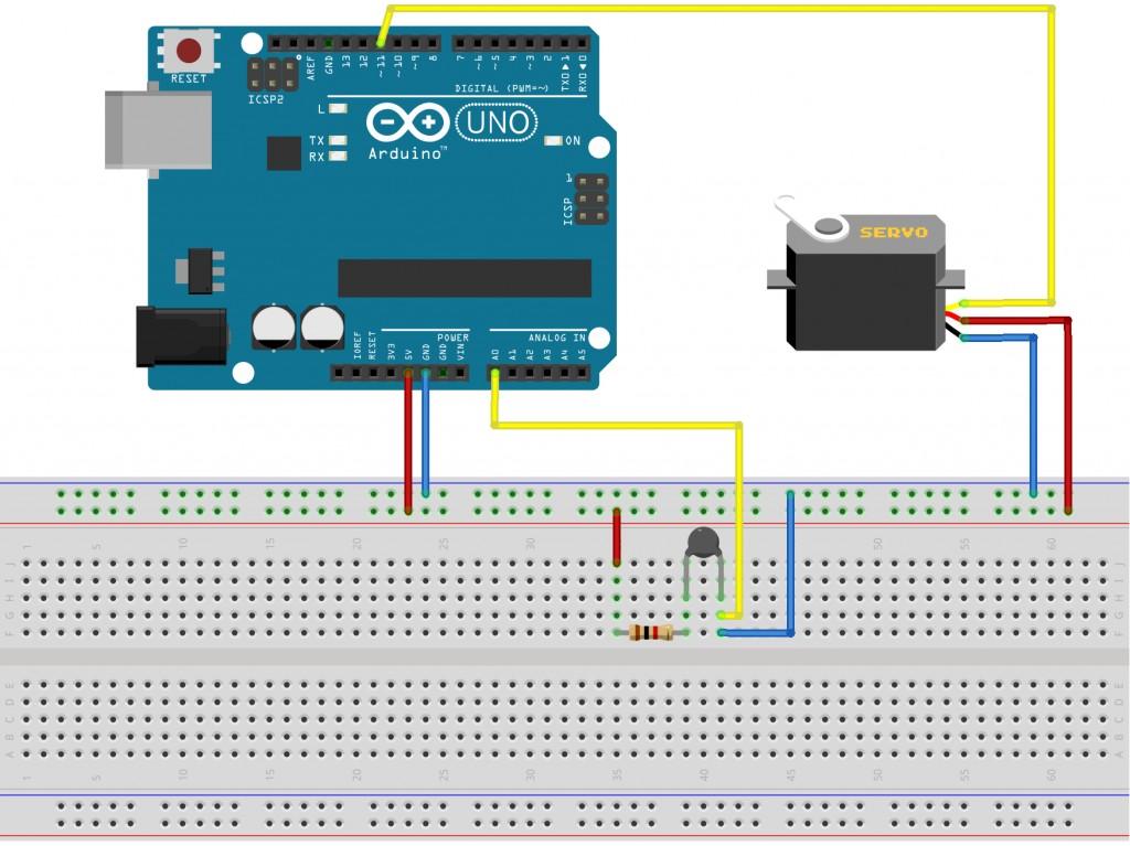 Servo Motor Controlled Analog Thermometer Using Thermistor (NTC) + Arduino 3
